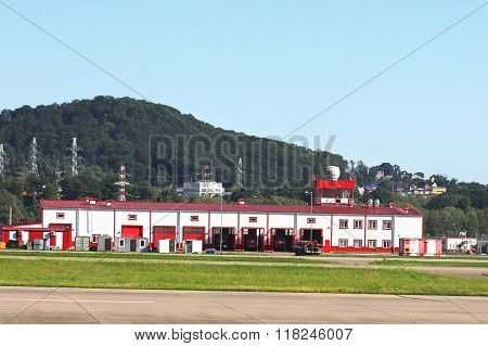 SOCHI  - MAI 17: Airfield fire protection facility which houses the premises for the storage of fire fighting equipment and its maintenance office space for accommodation of personnel technical and auxiliary facilities required for the performance of fire
