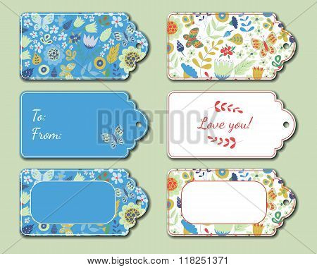Floral present tags.