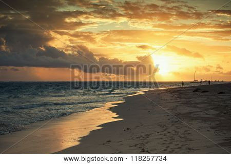 Sunrise Over Atlantic Ocean. Dominican Republic