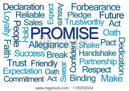 Promise Word Cloud on White Background