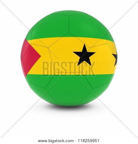 Sao Tome and Principe Football - Sao Tomean Flag on Soccer Ball - 3D Illustration