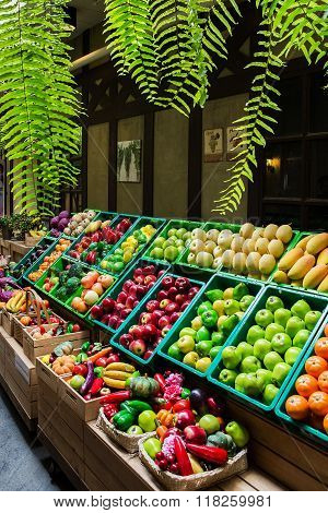 Many fruits and vagetables in market Thailand