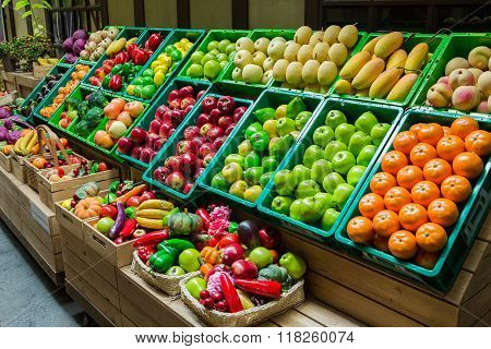 many fruits and vagetables on basket in Thailand