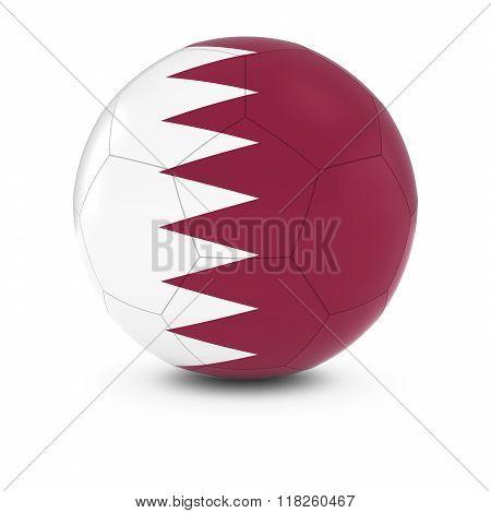Qatar Football - Qatari Flag on Soccer Ball - 3D Illustration