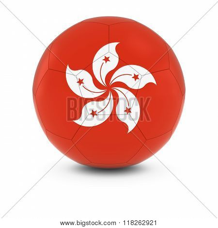 Hong Kong Football - Hong Kongese Flag on Soccer Ball - 3D Illustration