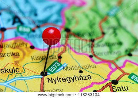 Nyiregyhaza pinned on a map of Hungary