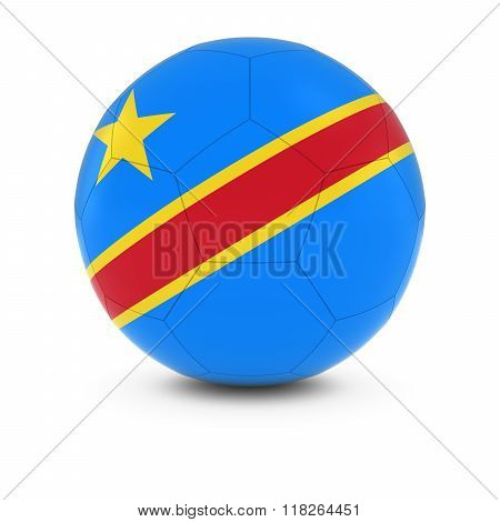 DR Congo Football - Congolese Flag on Soccer Ball - 3D Illustration