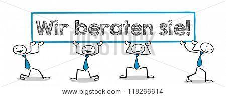 Business people holding German slogan