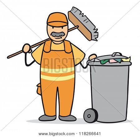 Cartoon man working at garbage disposal with broom and trashcan