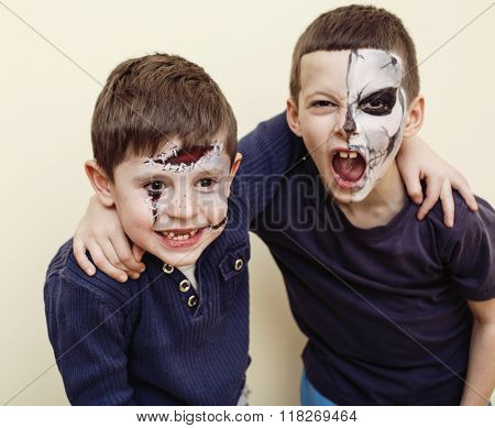 zombie apocalypse kids concept. Birthday party celebration facepaint on children