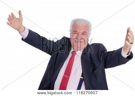 Senior Happy Man With Wide Open Arms