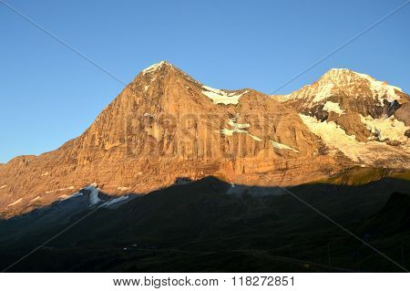 Alpenglow on the Eiger, Switzerland