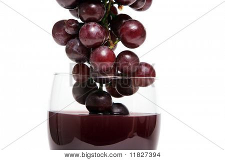 Red wine and grapes closeup