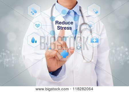 Doctor hand touching reduce stress sign on virtual screen. medical concept