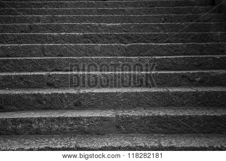 Old Stone Steps Leading Up A Dark Alleyway