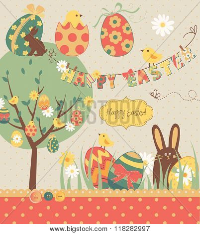 Easter Extravaganza. Big Easter set with cute chocolate rabbit, colorful eggs, chicks, Easter tree and a Clothesline with letters on it. Ideal for scrapbooking