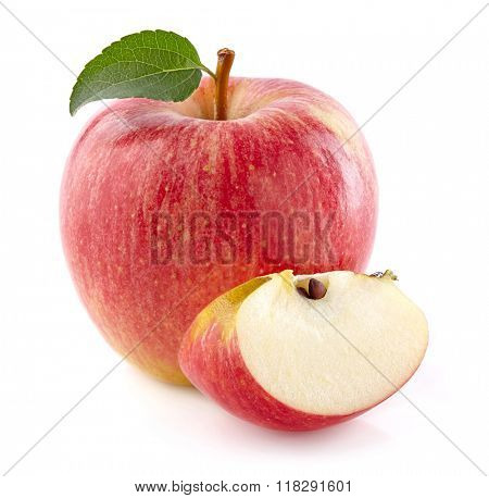 Red apple with slice