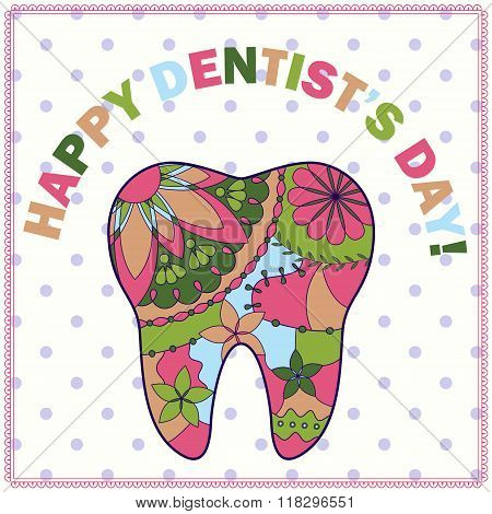 vector happy dentist day card with tooth silhouette