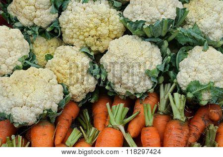 Many Cauliflowers And Carrots