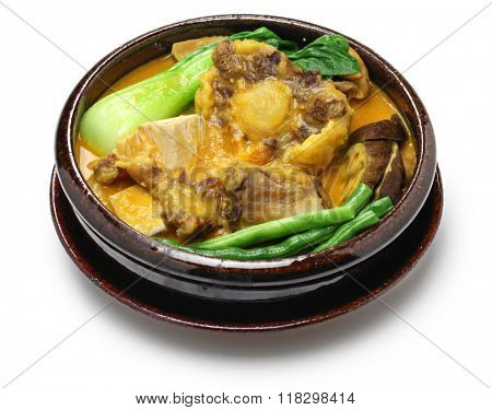 kare kare, filipino oxtail stew, philippine cuisine isolated on white background