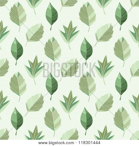 Abstract Vector Seamless Pattern Of Green Leaves