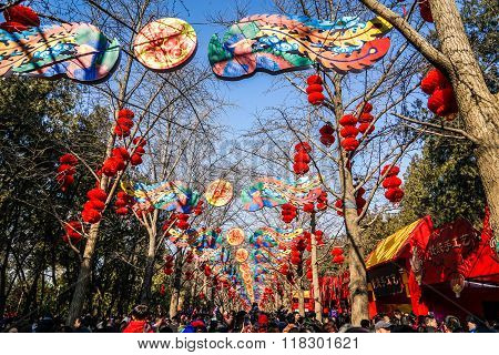 Colorful decorations and red lanterns on Spring Festival Temple Fair, during Chinese New Year