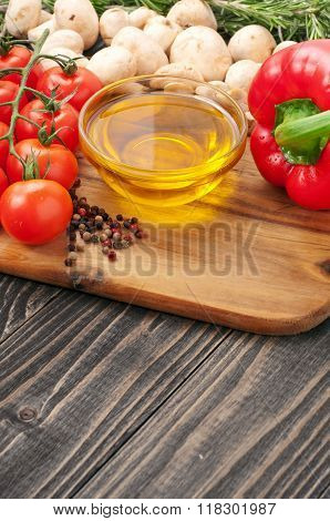 Fragrant Oil Unrefined With Raw Vegetables, Mushrooms And Rosemary