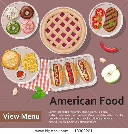 American food. Flat Lay Style Illustration.
