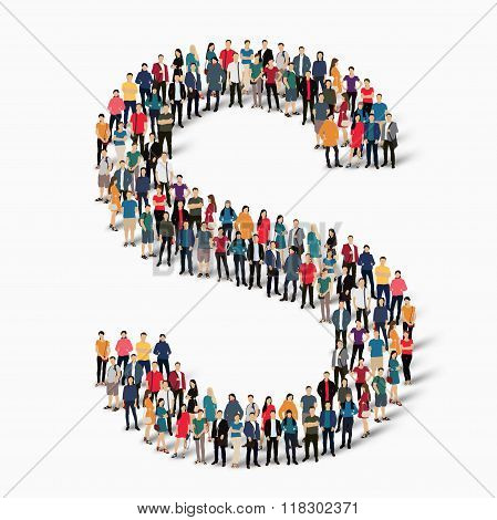 group  people  shape letter S vector