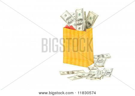 Shopping bag and money