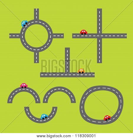 Road White Marking And Cartoon Cars. Crossroad. Design Element Set. Flat Design.
