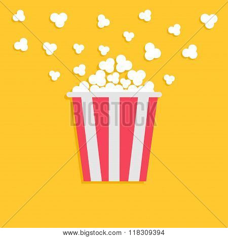 Popcorn Popping. Red Yellow Strip Box. Cinema Movie Night Icon In Flat Design Style.
