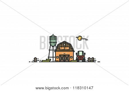 Farm. Line colorfull illustratiom. Stock vector.