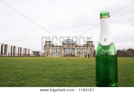 Green Bottle In Front Of The Reichstag