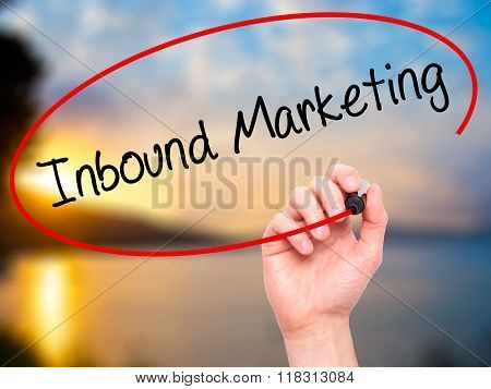Man Hand Writing Inbound Marketing  With Black Marker On Visual Screen