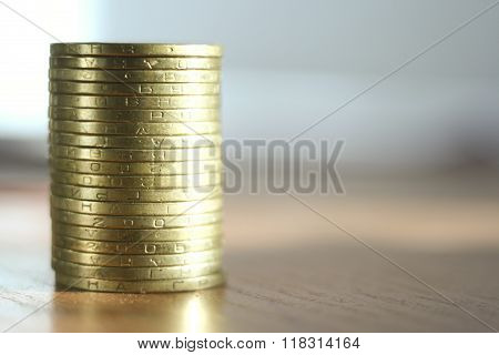 coins on the table. close-up