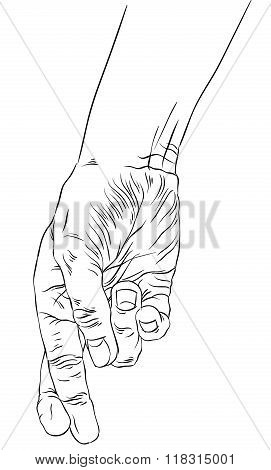 Cheater hand with crossed fingers detailed black and white lines vector illustration hand drawn.