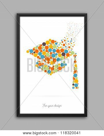 Abstract Creative concept vector icon of graduation cap for Web and Mobile Applications isolated on