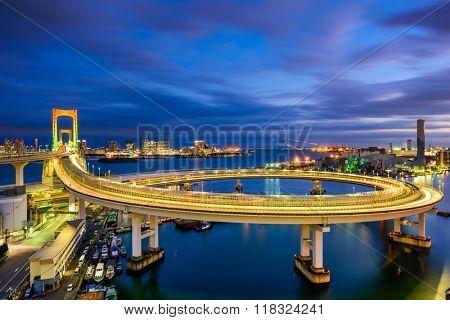 Tokyo, Japan view of Rainbow Bridge loop.