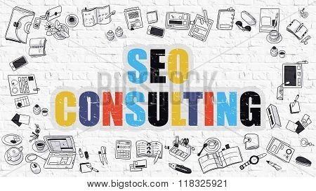 SEO Consulting in Multicolor. Doodle Design.