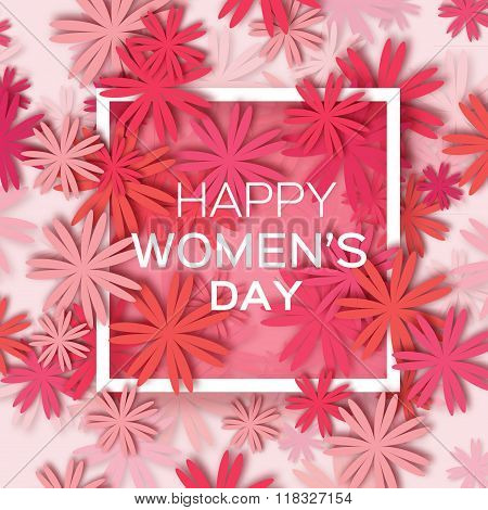 Abstract Red Floral Greeting card - International Happy Women's Day - 8 March holiday