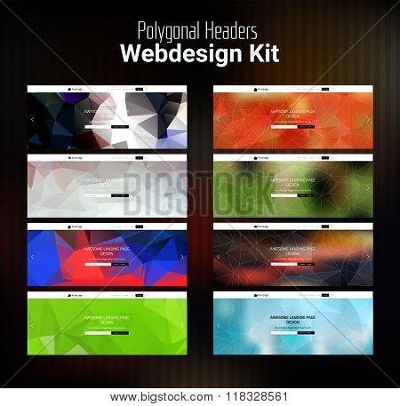 Blurred Polygonal Website Header Kit