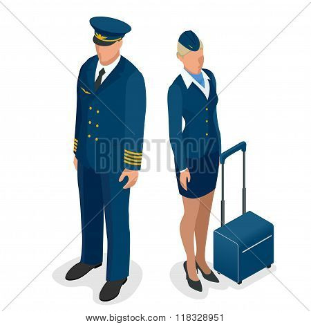 Captain of the aircraft and a beautiful flight attendant in a dark blue uniform, isolated on white b