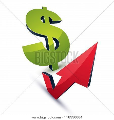 Dollar Symbol With An Arrow In The Shape Of Checkmark Pointing Up. Business Growth Trend Vector 3D S