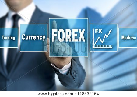 Forex Broker With Touchscreen Concept