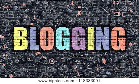 Multicolor Blogging on Dark Brickwall. Doodle Style.