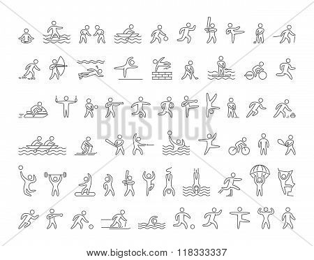 Set Of Linear Shapes Popular Sports Athletes. Vector Icons.