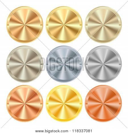 Vector Collection Of Labels Of Various Types Of Metal Gold Silver Platinum Copper Bronze Brass Alumi