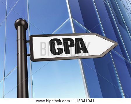 Finance concept: sign CPA on Building background