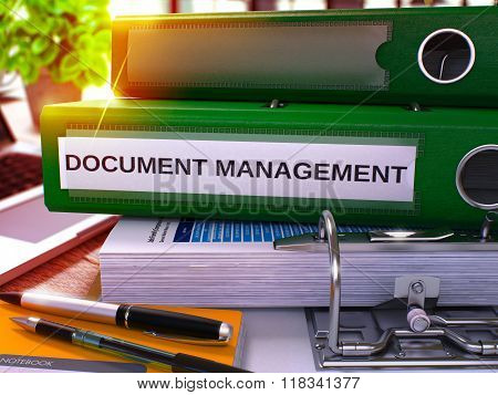 Green Office Folder with Inscription Document Management.